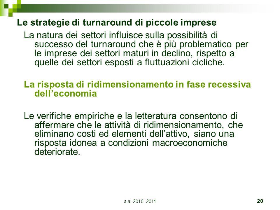 a.a. 2010 -201120 Le strategie di turnaround di piccole imprese La natura dei settori influisce sulla possibilità di successo del turnaround che è più