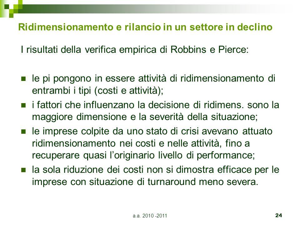 a.a. 2010 -201124 Ridimensionamento e rilancio in un settore in declino I risultati della verifica empirica di Robbins e Pierce: le pi pongono in esse