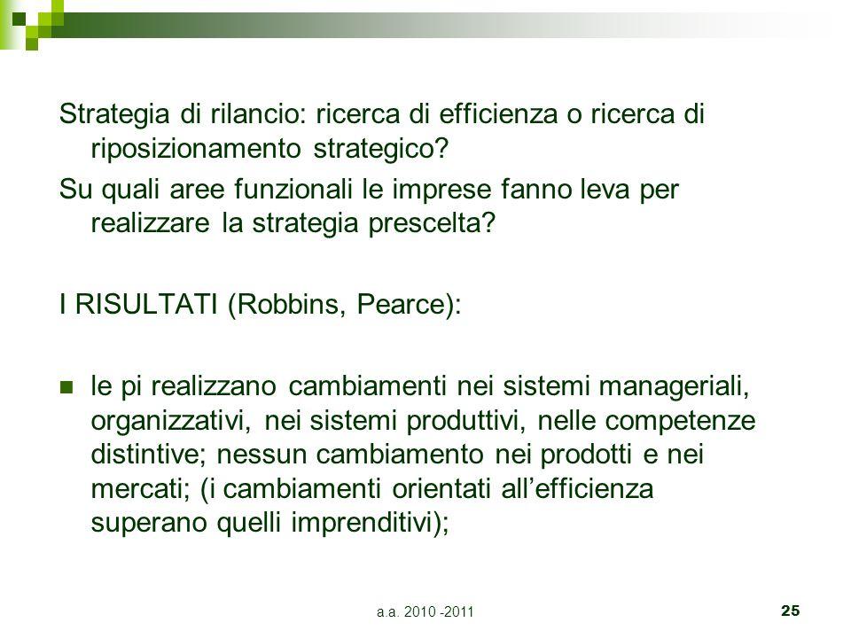 a.a. 2010 -201125 Strategia di rilancio: ricerca di efficienza o ricerca di riposizionamento strategico? Su quali aree funzionali le imprese fanno lev