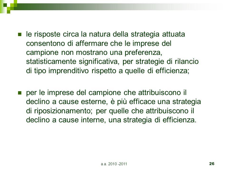 a.a. 2010 -201126 le risposte circa la natura della strategia attuata consentono di affermare che le imprese del campione non mostrano una preferenza,