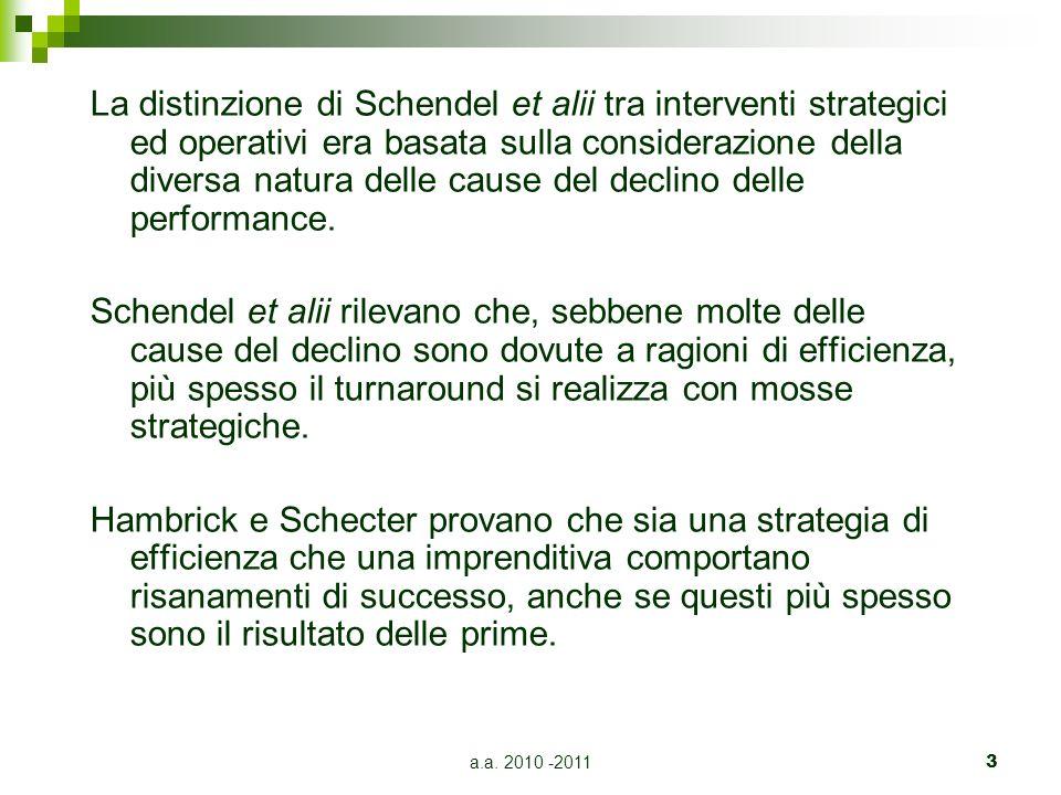 a.a. 2010 -20113 La distinzione di Schendel et alii tra interventi strategici ed operativi era basata sulla considerazione della diversa natura delle