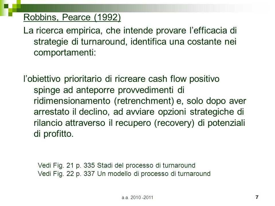a.a. 2010 -20117 Robbins, Pearce (1992) La ricerca empirica, che intende provare lefficacia di strategie di turnaround, identifica una costante nei co