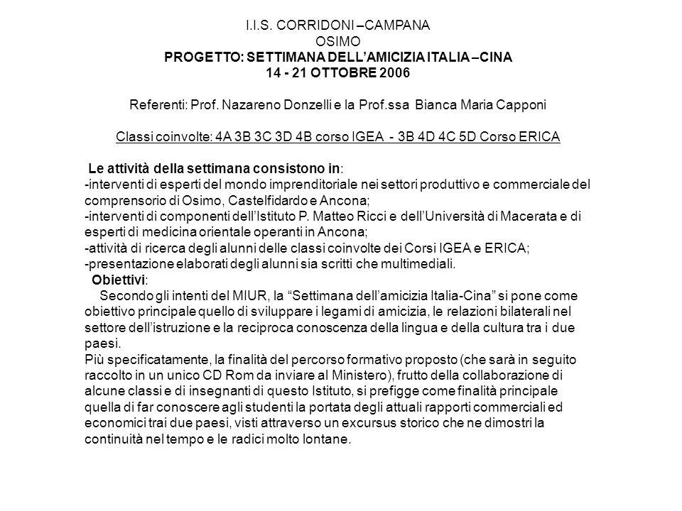 I.I.S. CORRIDONI –CAMPANA OSIMO PROGETTO: SETTIMANA DELLAMICIZIA ITALIA –CINA 14 - 21 OTTOBRE 2006 Referenti: Prof. Nazareno Donzelli e la Prof.ssa Bi