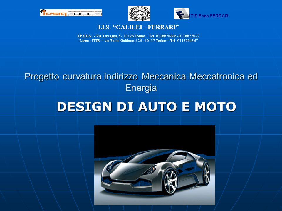 Progetto curvatura indirizzo Meccanica Meccatronica ed Energia DESIGN DI AUTO E MOTO I.I.S. GALILEI - FERRARI I.P.S.I.A. - Via Lavagna, 8 - 10126 Tori