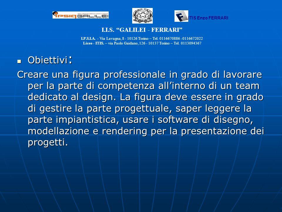 Obiettivi : Obiettivi : Creare una figura professionale in grado di lavorare per la parte di competenza allinterno di un team dedicato al design. La f