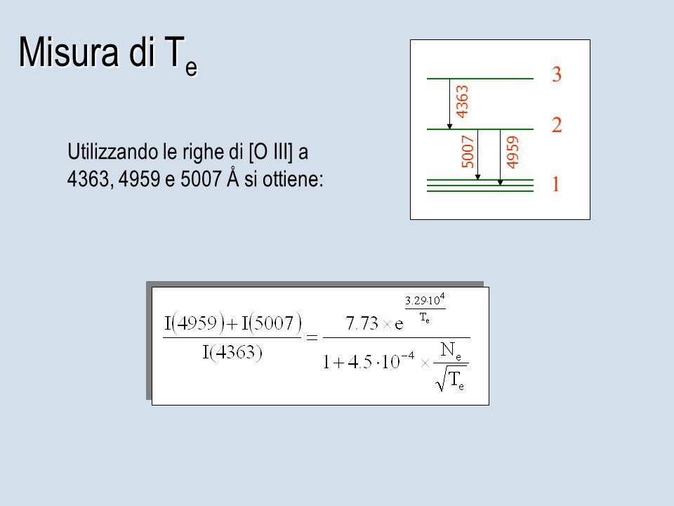 Misura di T e 1 2 3 50074959 4363 Utilizzando le righe di [O III] a 4363, 4959 e 5007 Å si ottiene: