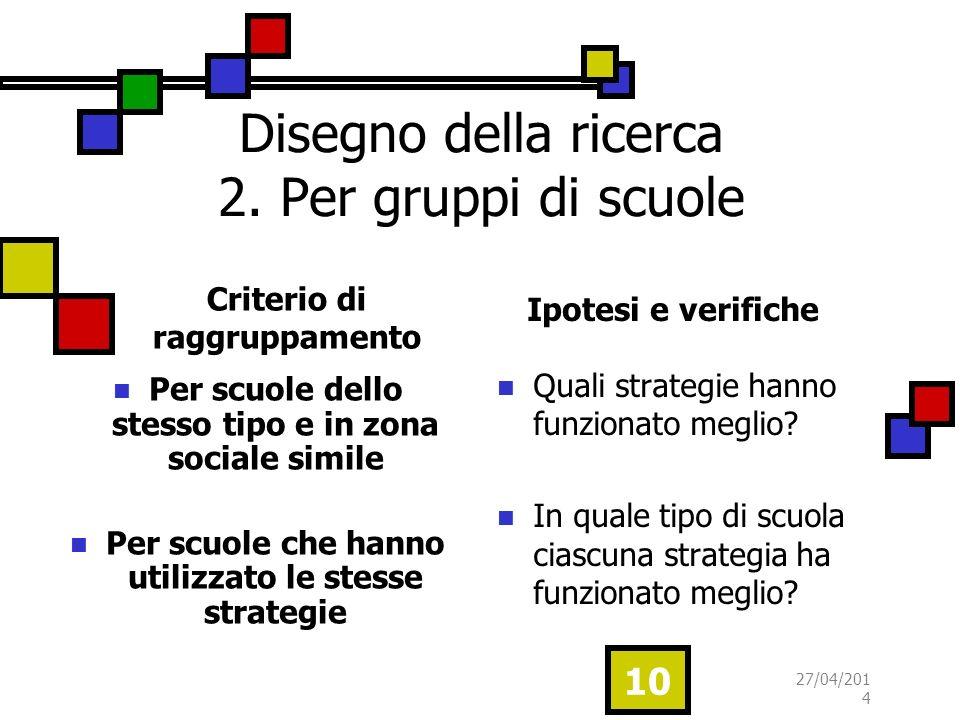 Criterio di raggruppamento Per scuole dello stesso tipo e in zona sociale simile Per scuole che hanno utilizzato le stesse strategie Ipotesi e verifiche Quali strategie hanno funzionato meglio.