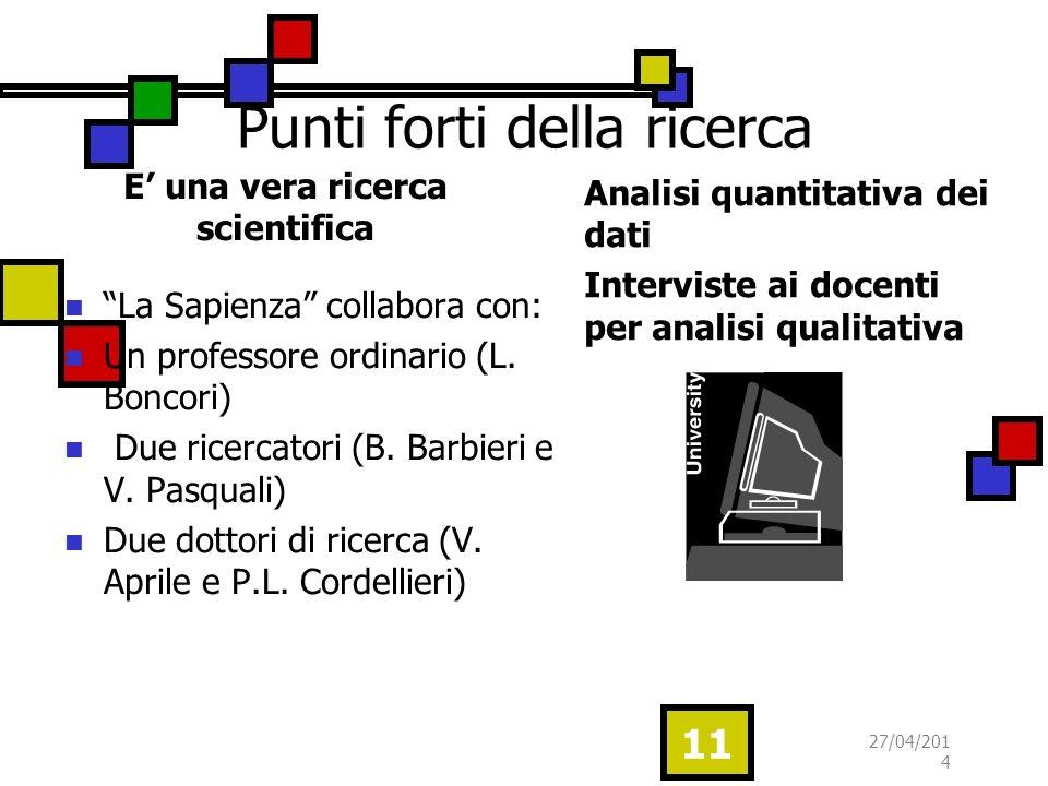 Punti forti della ricerca E una vera ricerca scientifica La Sapienza collabora con: Un professore ordinario (L.