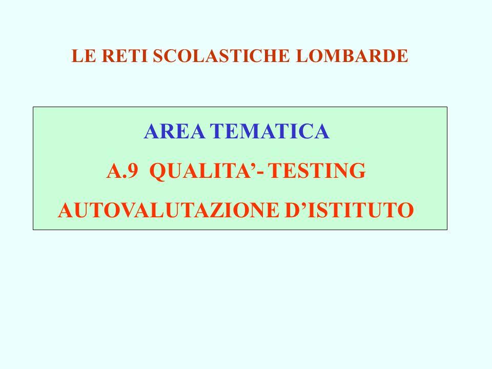 AREA TEMATICA A.9 QUALITA- TESTING AUTOVALUTAZIONE DISTITUTO LE RETI SCOLASTICHE LOMBARDE