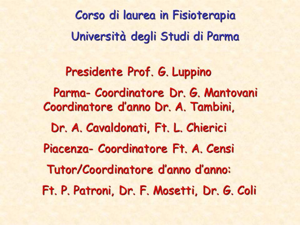 Corso di laurea in Fisioterapia Università degli Studi di Parma Presidente Prof. G. Luppino Parma- Coordinatore Dr. G. Mantovani Coordinatore danno Dr