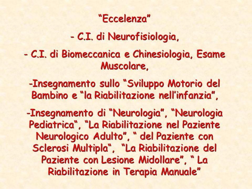 Eccelenza - C.I. di Neurofisiologia, - C.I. di Biomeccanica e Chinesiologia, Esame Muscolare, -Insegnamento sullo Sviluppo Motorio del Bambino e la Ri