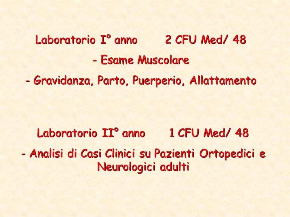 Laboratorio II° anno 1 CFU Med/ 48 - Analisi di Casi Clinici su Pazienti Ortopedici e Neurologici adulti Laboratorio I° anno 2 CFU Med/ 48 - Esame Mus