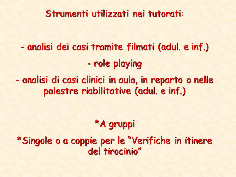 Strumenti utilizzati nei tutorati: - analisi dei casi tramite filmati (adul. e inf.) - role playing - analisi di casi clinici in aula, in reparto o ne