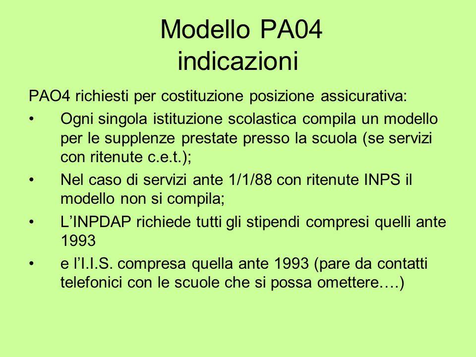Modello PA04 indicazioni PAO4 richiesti per costituzione posizione assicurativa: Ogni singola istituzione scolastica compila un modello per le supplen