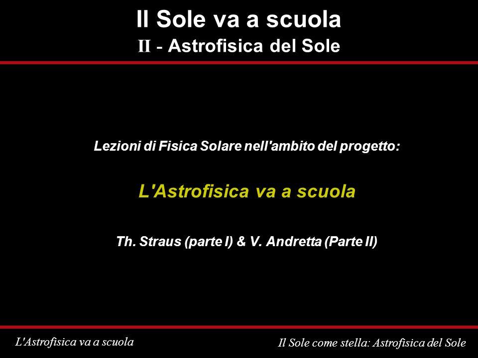 L Astrofisica va a scuola Il Sole come stella: Astrofisica del Sole Com è fatto il Sole Dati fondamentali: Distanza media: 1,496 x 10 8 km = 1 Unità Astronomica Raggio: 6,96 x 10 5 km ~ 109 raggi terrestri Massa: 1,99 x 10 30 kg ~ 3,33 x 10 5 masse terrestri Densità media: 1,4 g/cm 3 (Terra: 5,5 g/cm 3 ) Temperatura superficiale: ~6000 K!