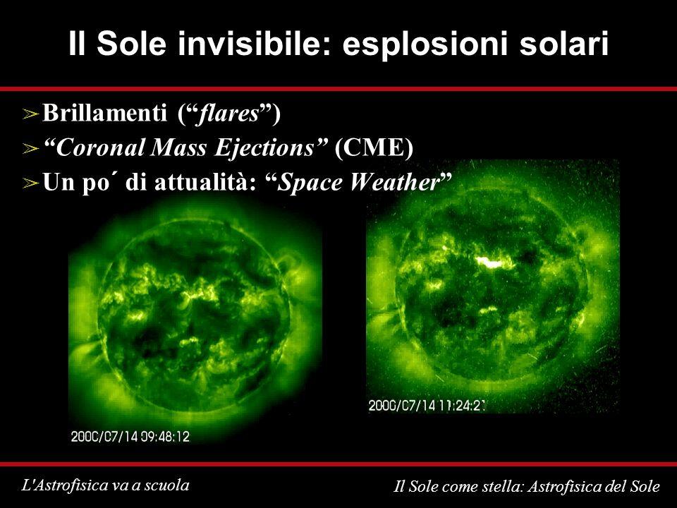 L Astrofisica va a scuola Il Sole come stella: Astrofisica del Sole Il Sole invisibile: esplosioni solari Brillamenti (flares) Coronal Mass Ejections (CME) Un po´ di attualità: Space Weather