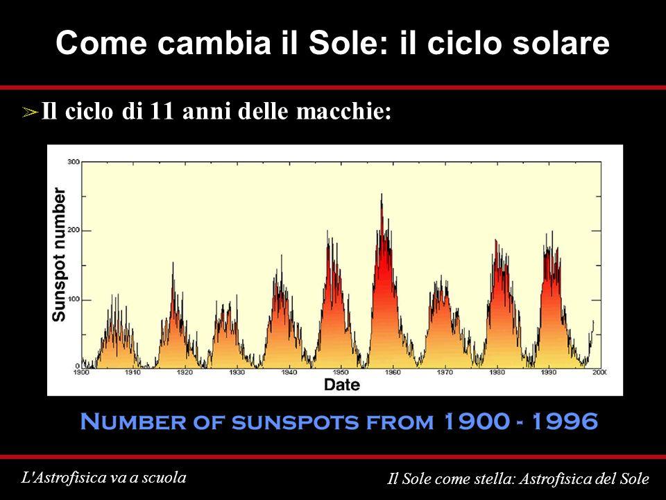 L Astrofisica va a scuola Il Sole come stella: Astrofisica del Sole Come cambia il Sole: il ciclo solare Il ciclo di 11 anni delle macchie: