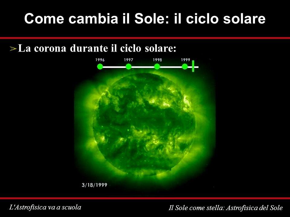 L Astrofisica va a scuola Il Sole come stella: Astrofisica del Sole Come cambia il Sole: il ciclo solare La corona durante il ciclo solare: