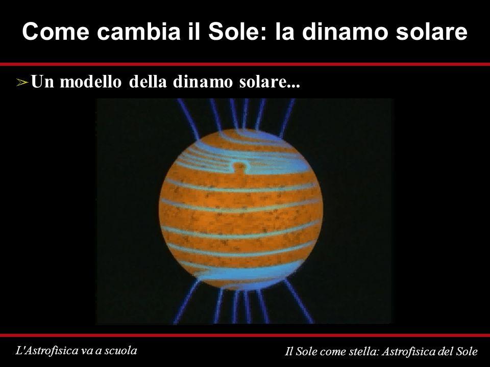 L Astrofisica va a scuola Il Sole come stella: Astrofisica del Sole Come cambia il Sole: la dinamo solare Un modello della dinamo solare...