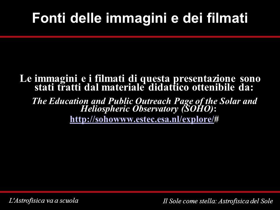 L'Astrofisica va a scuola Il Sole come stella: Astrofisica del Sole Fonti delle immagini e dei filmati Le immagini e i filmati di questa presentazione
