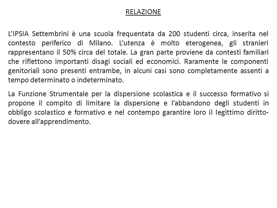 RELAZIONE LIPSIA Settembrini è una scuola frequentata da 200 studenti circa, inserita nel contesto periferico di Milano. Lutenza è molto eterogenea, g