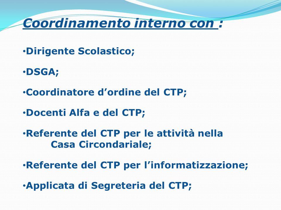 Coordinamento interno con : Dirigente Scolastico; DSGA; Coordinatore dordine del CTP; Docenti Alfa e del CTP; Referente del CTP per le attività nella