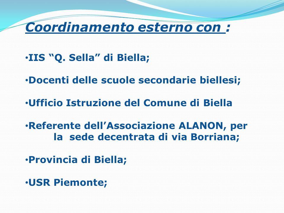 Coordinamento esterno con : IIS Q. Sella di Biella; Docenti delle scuole secondarie biellesi; Ufficio Istruzione del Comune di Biella Referente dellAs