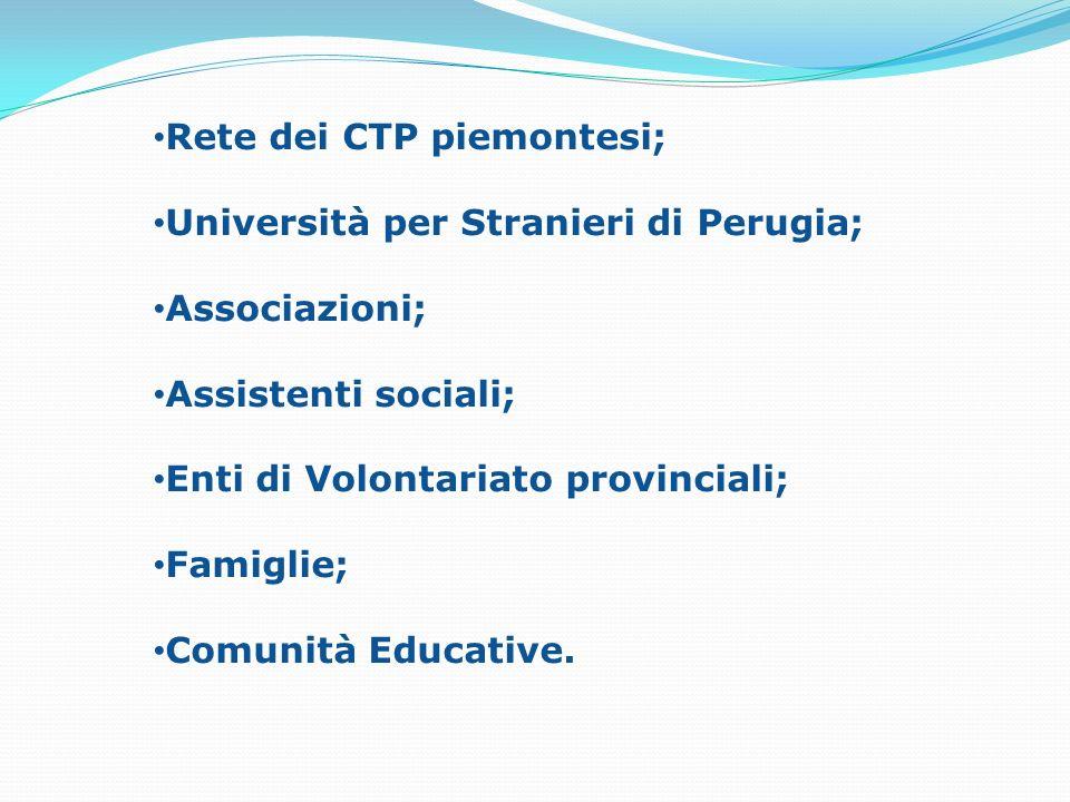 Rete dei CTP piemontesi; Università per Stranieri di Perugia; Associazioni; Assistenti sociali; Enti di Volontariato provinciali; Famiglie; Comunità E
