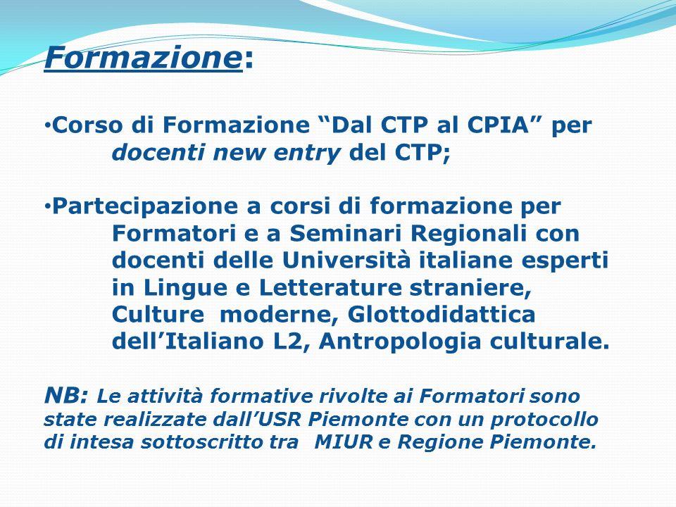 Formazione: Corso di Formazione Dal CTP al CPIA per docenti new entry del CTP; Partecipazione a corsi di formazione per Formatori e a Seminari Regiona