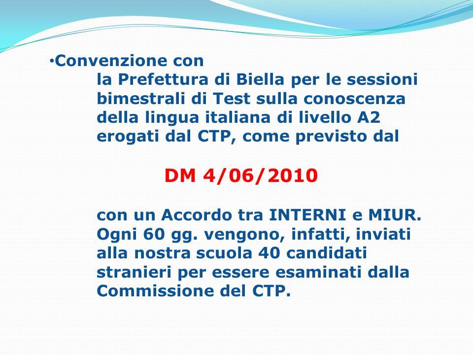 Convenzione con la Prefettura di Biella per le sessioni bimestrali di Test sulla conoscenza della lingua italiana di livello A2 erogati dal CTP, come