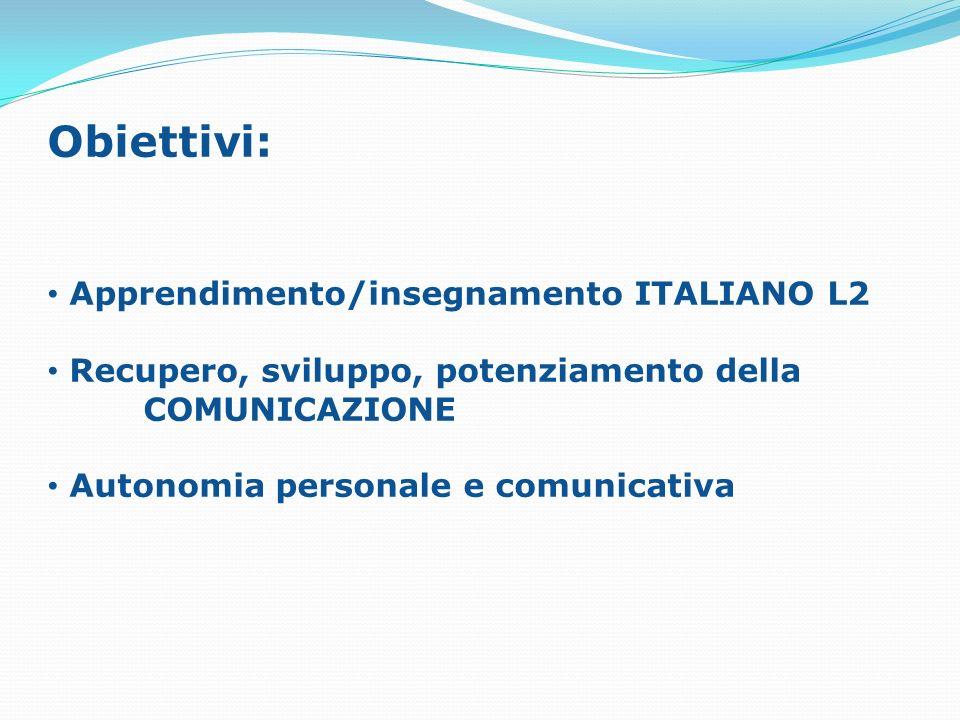 Obiettivi: Apprendimento/insegnamento ITALIANO L2 Recupero, sviluppo, potenziamento della COMUNICAZIONE Autonomia personale e comunicativa