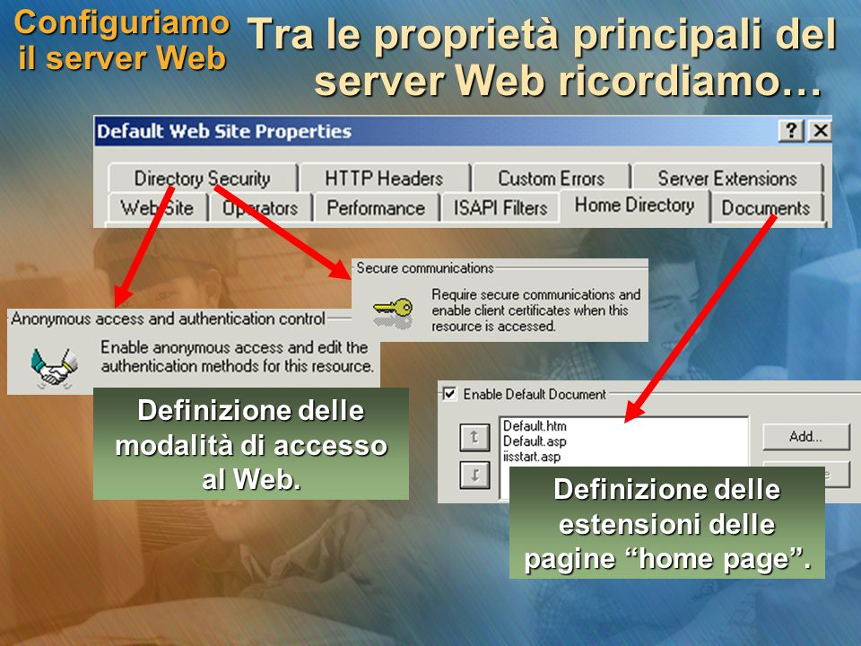 Configuriamo il server Web Tra le proprietà principali del server Web ricordiamo… Definizione delle estensioni delle pagine home page.