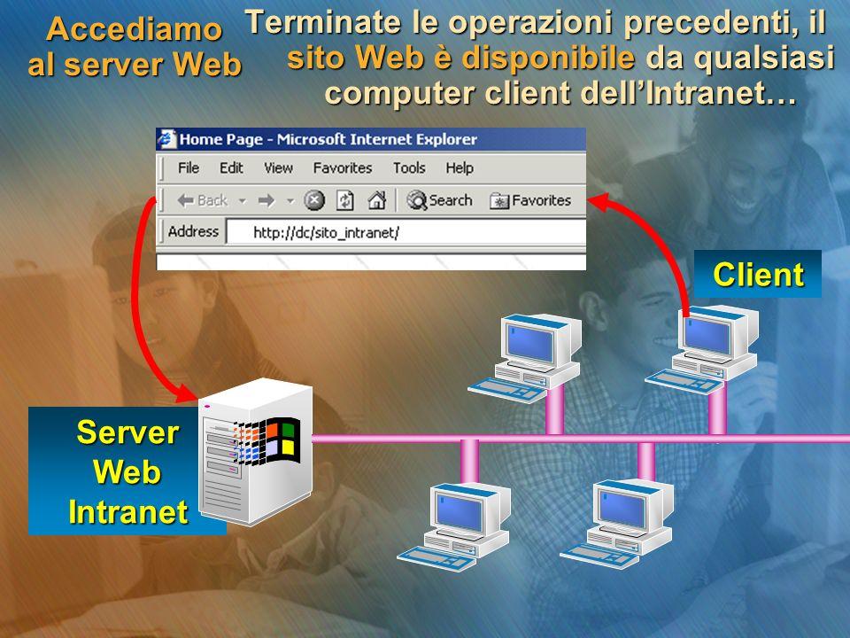 Accediamo al server Web Terminate le operazioni precedenti, il sito Web è disponibile da qualsiasi computer client dellIntranet… Server Web Intranet Client