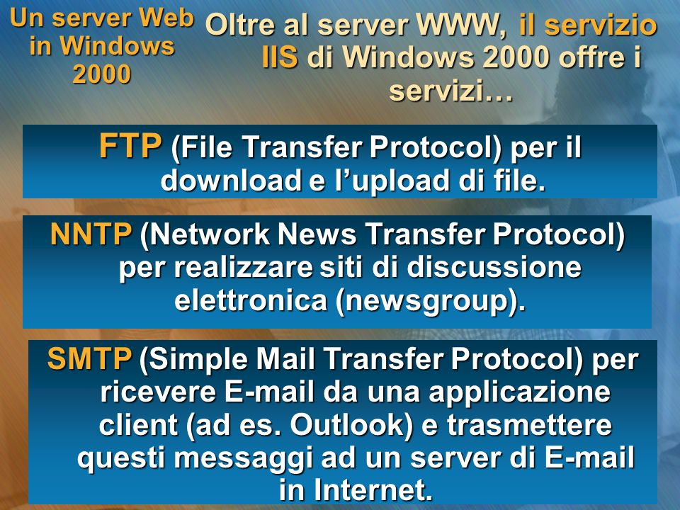 Intranet locale Un server Web in Windows 2000 Se disponiamo di un indirizzo IP e di un nome di dominio pubblico possiamo… Server Web IIS Internet