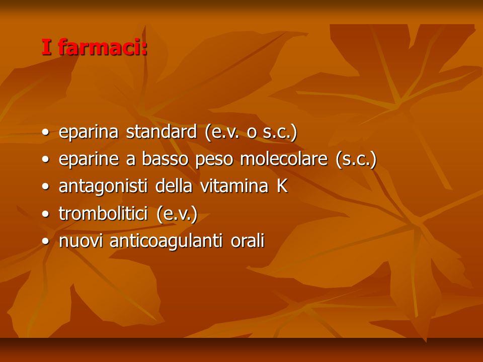 I farmaci: eparina standard (e.v.o s.c.)eparina standard (e.v.