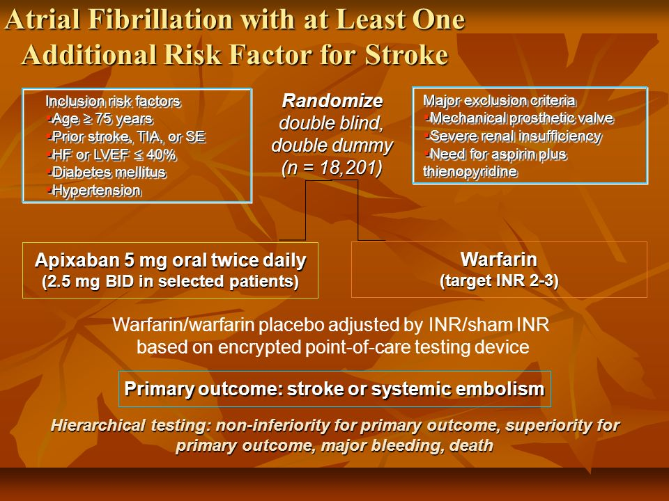Warfarin (target INR 2-3) Apixaban 5 mg oral twice daily (2.5 mg BID in selected patients) Primary outcome: stroke or systemic embolism Hierarchical t