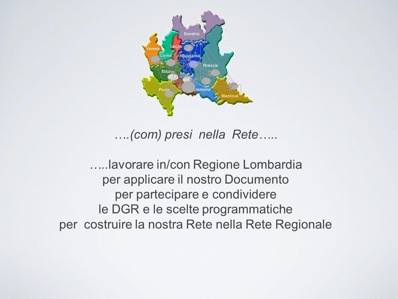 ….(com) presi nella Rete….. …..lavorare in/con Regione Lombardia per applicare il nostro Documento per partecipare e condividere le DGR e le scelte pr