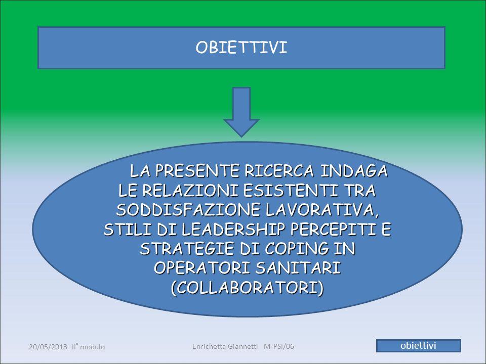 Enrichetta Giannetti M-PSI/06 20/05/2013 II° modulo11 obiettivi OBIETTIVI LA PRESENTE RICERCA INDAGA LE RELAZIONI ESISTENTI TRA SODDISFAZIONE LAVORATI
