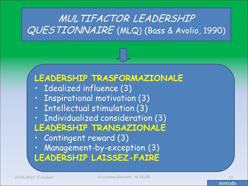 Enrichetta Giannetti M-PSI/06 20/05/2013 II° modulo17 MULTIFACTOR LEADERSHIP QUESTIONNAIRE (MLQ) (Bass & Avolio, 1990) LEADERSHIP TRASFORMAZIONALE Ide