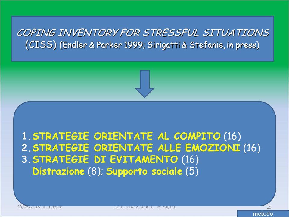 Enrichetta Giannetti M-PSI/06 20/05/2013 II° modulo19 COPING INVENTORY FOR STRESSFUL SITUATIONS (CISS) (Endler & Parker 1999; Sirigatti & Stefanie, in
