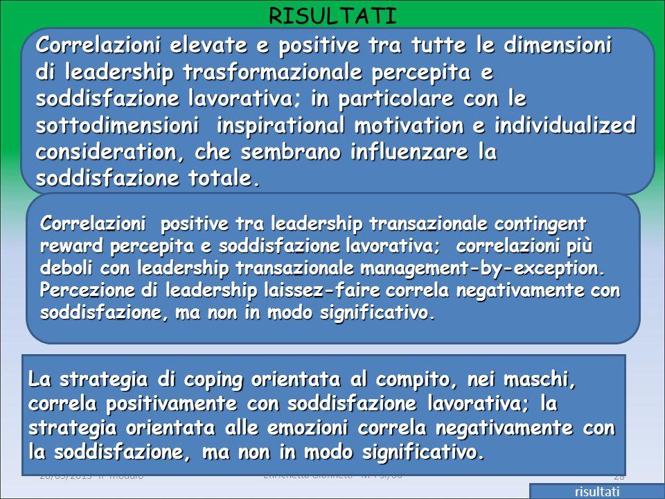 Enrichetta Giannetti M-PSI/06 20/05/2013 II° modulo28 RISULTATI risultati Correlazioni elevate e positive tra tutte le dimensioni di leadership trasfo