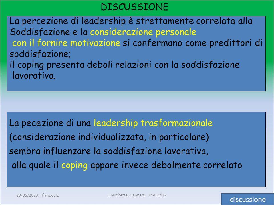 Enrichetta Giannetti M-PSI/06 20/05/2013 II° modulo29 DISCUSSIONE La percezione di leadership è strettamente correlata alla Soddisfazione e la conside