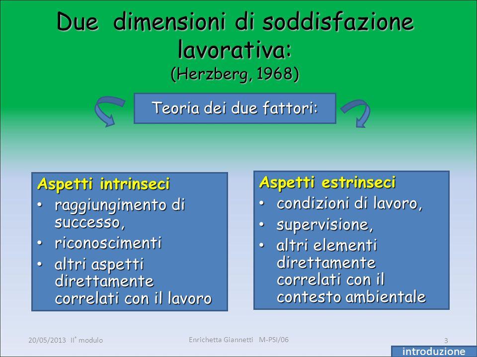 Enrichetta Giannetti M-PSI/06 20/05/2013 II° modulo3 Due dimensioni di soddisfazione lavorativa: (Herzberg, 1968) Aspetti intrinseci raggiungimento di