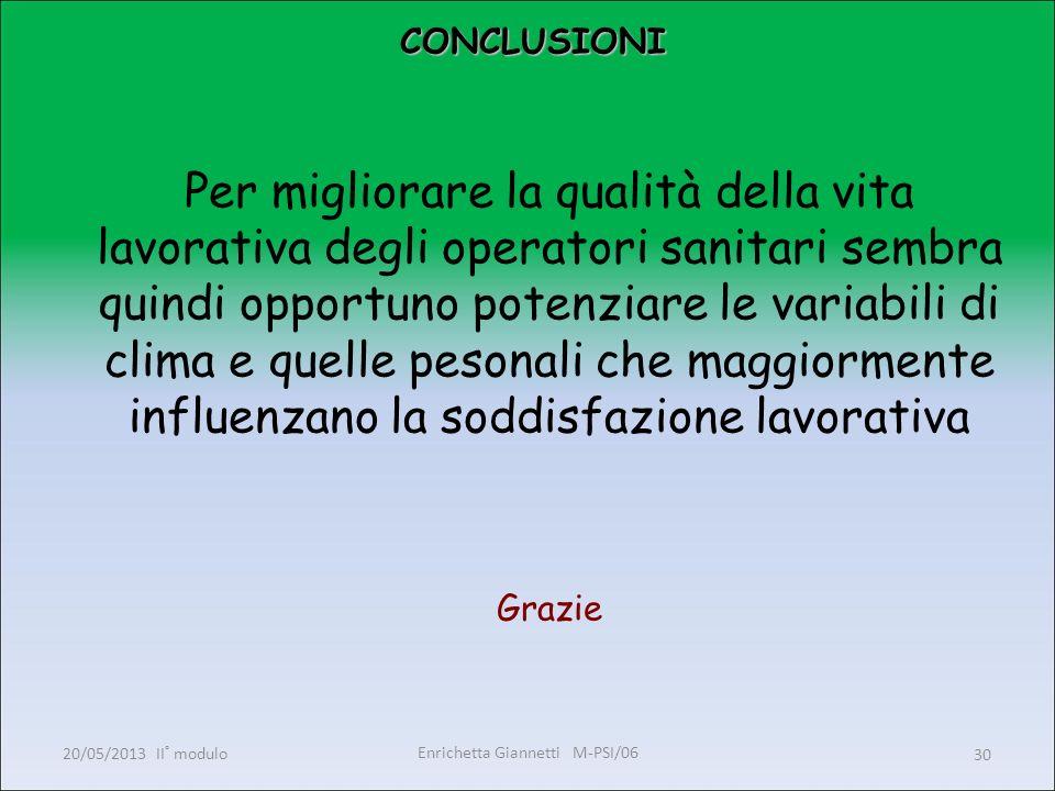 Enrichetta Giannetti M-PSI/06 20/05/2013 II° modulo30 CONCLUSIONI CONCLUSIONI Per migliorare la qualità della vita lavorativa degli operatori sanitari
