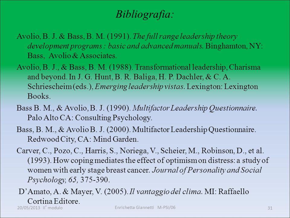 Enrichetta Giannetti M-PSI/06 20/05/2013 II° modulo31 Bibliografia: Avolio, B. J. & Bass, B. M. (1991). The full range leadership theory development p