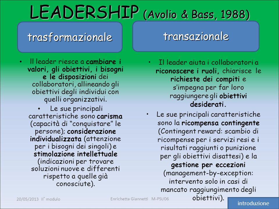 Enrichetta Giannetti M-PSI/06 20/05/2013 II° modulo6 LEADERSHIP (Avolio & Bass, 1988) trasformazionale transazionale ll leader riesce a cambiare i val