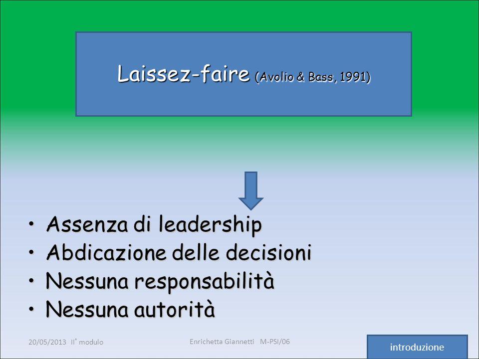 Enrichetta Giannetti M-PSI/06 20/05/2013 II° modulo7 Laissez-faire (Avolio & Bass, 1991) Assenza di leadershipAssenza di leadership Abdicazione delle