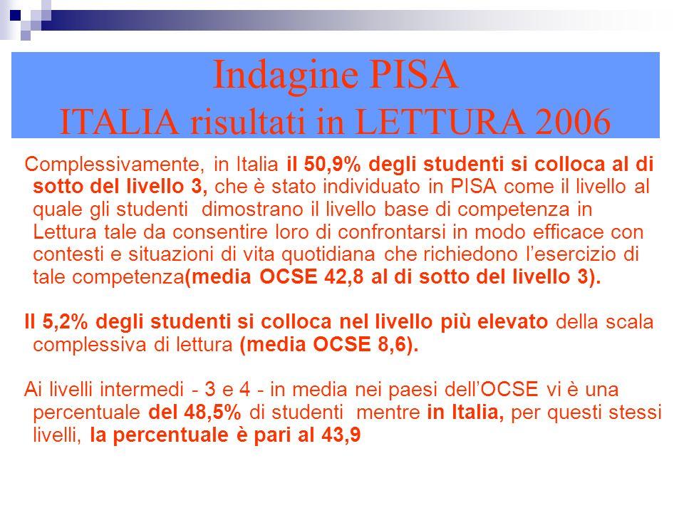 Complessivamente, in Italia il 50,9% degli studenti si colloca al di sotto del livello 3, che è stato individuato in PISA come il livello al quale gli studenti dimostrano il livello base di competenza in Lettura tale da consentire loro di confrontarsi in modo efficace con contesti e situazioni di vita quotidiana che richiedono lesercizio di tale competenza(media OCSE 42,8 al di sotto del livello 3).