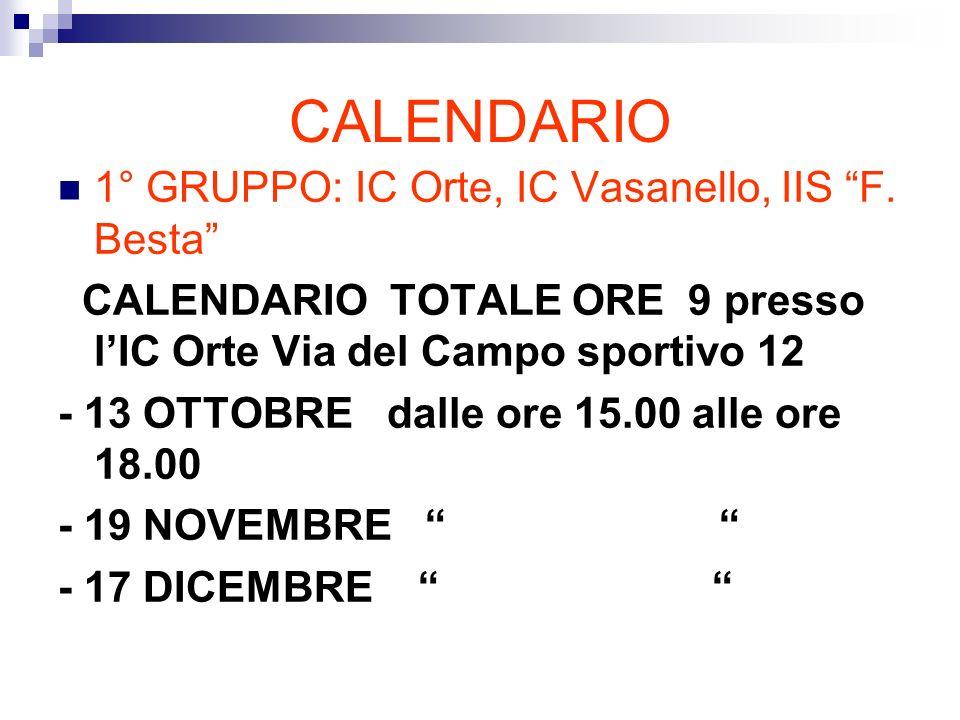 CALENDARIO 1° GRUPPO: IC Orte, IC Vasanello, IIS F.