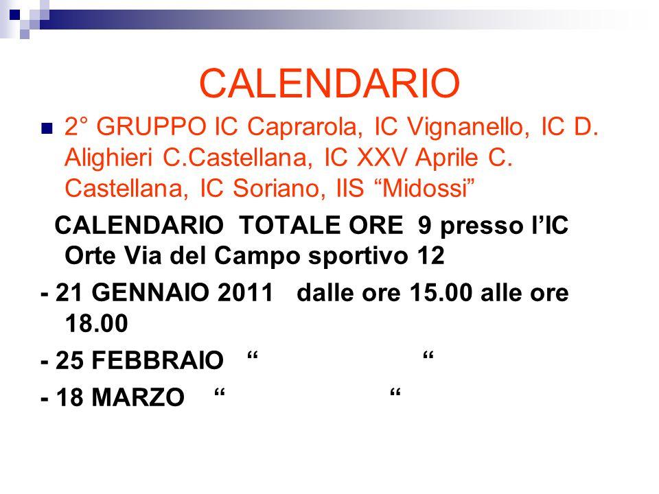 CALENDARIO 2° GRUPPO IC Caprarola, IC Vignanello, IC D.